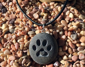 Puppy Love! Dog paw with 3D heart pendant - engraved Beach Stone Pendant Jewelry - closest of bonds necklace