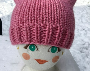 Pink Pussyhat, Womens March, Bubble Gum Pink Color, Soft Acrylic, More Available