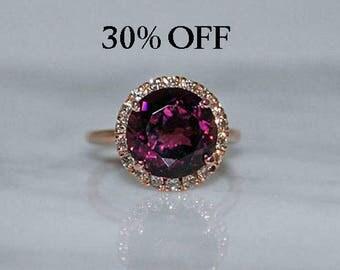 Rose Gold, Rubellite Tourmaline Engagement Ring, Halo Rose Gold Ring, Tourmaline Engagement Ring, Diamond Halo Ring, Bridal Ring, 30% OFF