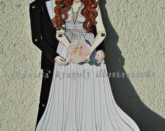 Two Custom Articulated Paper Dolls for Wedding, Engagement, Anniversary,Personalized,Made to Order,Handmade,One of a kind