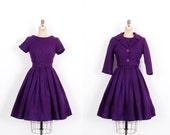 Vintage 1950s Set / 50s Jerry Gilden Wool Dress and Jacket Set / Purple ( medium M )
