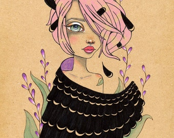 Changeling Girl crows ravens faery fae fairy tales Original Art Giclee fine art print 8x10