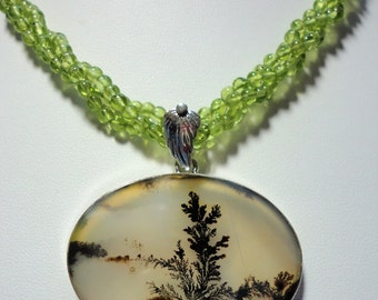 Rare Large Dendritic Agate Pendant In Sterling on 3 Strand Genuine Green Peridot Twist Necklace Oval Natural Dendritc Agate Scenic Necklace