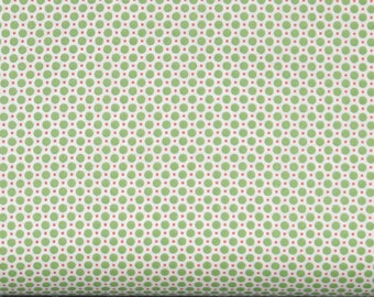 Green and Red Polka Dots on Cream 1930's Reproduction 100% Cotton Quilt Fabric, Lecien's Retro 30's Child Smile Collection LEC31142-60