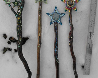 Star wand,OOAK, custom wand, forest, dragon,green, Orgone, Priestess, rune, divination, psychic, channeling, energy, power, cosplay, athame