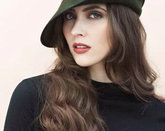 The Gisella Winter Cloche Hat, Asymmetrical Brim Style, Classic Hat in Green