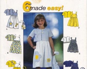Simplicity 8544 Child's Sundress, Jacket and Purse Pattern Sizes 5, 6, 7, 8 Pullover Sundress, Bolero Jacket, Gathered Skirt Pattern, Uncut