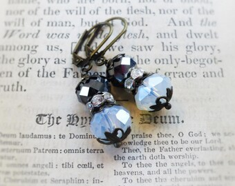 Pewter and Moonstone, Pewter Gray and Glowing Moonstone Crystals ,Rhinestone Beads & Filigree Bead Caps Earrings by Hollywood Hillbilly