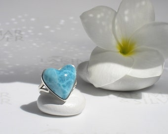 Larimar heart ring size 6 by Larimarandsilver, Dive into Love - turquoise Larimar heart, aquamarine heart turtleback, handmade Larimar ring