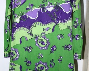 Vintage DRESS 60's 70's PRINT PSYCHEDELIC Pucci-esque Emilio Borghese MoD