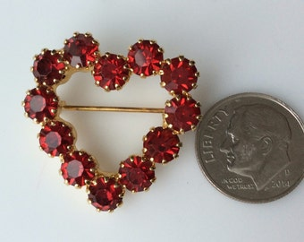 Small Red Rhinestone Heart Brooch - Perfect for a Choker or Sash!