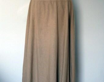 Vintage Skirt / 90's Todd Oldham times seven Cotton Linen Maxi Skirt / Medium / Tan Long Skirt / 1990's Women's Designer Clothing / Minimal