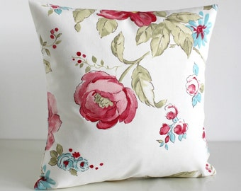18x18 floral pillow cover, flower cushion cover - Bloomington Vanilla