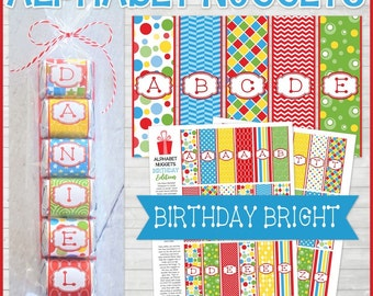 ALPHABET Nugget Wrappers, Bright Birthday Colors, Spell Out NAMES and WORDS, Party Favor - Printable Instant Download