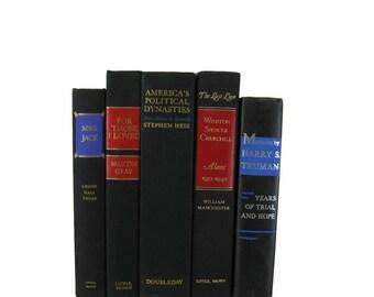 Black Decorative Books, Vintage Wedding Decor , Book Decor , Home Decor , Photo Prop ,  Bookshelf Decor , Old Book Decor ,