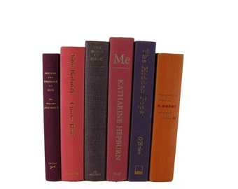 Pink Purple Orange Decorative Books , Vintage Book Decor ,  Book Collection, Bookshelf Decor , Home Decor, Old Book Decor ,
