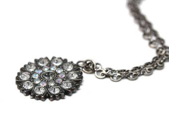 Swarovski Crystal Flower Pendant in Antique Silver with Crystal AB