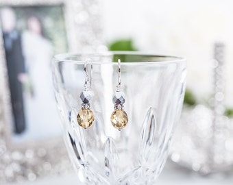 Metallic Silver & Gold Earrings with Crystals -Wedding Earrings - Prom Earrings - Christmas Gift - Bridesmaid Earrings - Gold and Silver