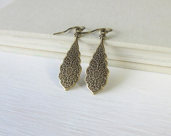 Long Earrings, Boho Earrings, Moroccan Earrings, Bohemian Earrings, Antique Brass Long Dangle Drop Earrings, Clip On Earrings Available