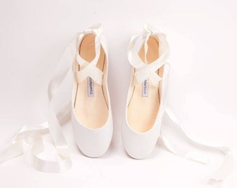 The Bridal Bolshoy White Ballet Shoes | Wedding Flats | Lace up Shoes for Brides | Swan Style Leather Ballet Flats in White | Ready to Ship