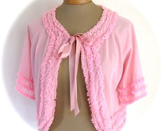 VINTAGE PINK 1960s Bed Jacket RUCHED Ruffles Small Medium