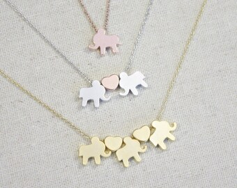 Elephant Necklace | I Heart Elephants | Elephant Love | Animal Lover | Gift for Her | Mommy and Me | Best Friends | Mothers Day Gift