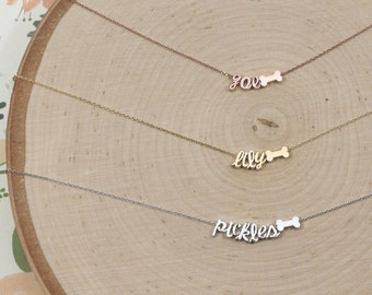Dog Bone Necklace with Name | Fur Mama | Doggie Bone | Pet Lover | Best Friend | Dog Lover | Pet Name | Animal Lover | Mothers Day Gift