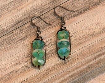 Beach Earrings / Czech Glass Earrings / Boho Earrings / Wire Wrapped Earrings / Peridot Aqua White Rondelle Bead Earrings / Dangle Earrings