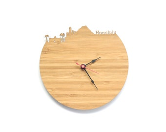 Honolulu Modern Clock - City Skyline Wall Clock - Hawaii