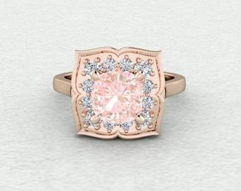 7mm Square Cushion Cut Champagne Sapphire Petal Halo Engagement Ring LCDH047