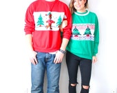 Vintage matching red and green ugly christmas sweaters // tacky couple christmas sweatshirts // tree bear pair ugly christmas party set