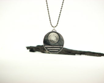 "Silver Moon Necklace Rustic Jewelry Artisan  Earth Jewlery Eco Friendly ""Full Moon"" Pendant Eco Friendly Organic Sterling Silver"
