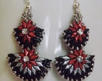 Red Black and Silver Beaded Dangle Earrings - Handcrafted delicate earrings - Beaded Dangle Earrings