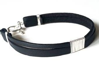 Double Black LEATHER & Sterling SILVER BRACELET—Custom Unisex Cuff, Wristband [Bracelet Argent Cuir Noir—Pulsera Brazalete Plata Piel negra]