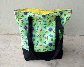 Legend of Zelda Tote Bag - Green Black Yellow Market Tote / Lined Book Bag / Canvas Cotton Tote Bag / Video Game Bag / Small Zelda Tote Bag