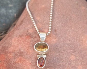Citrine and Amber Sterling Silver Articulated 925 Pendant