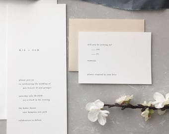 Simple Wedding Invitation Sample - Mia | Long Wedding Invitation | Typewriter Wedding Invite | Letterpress Wedding Invitations