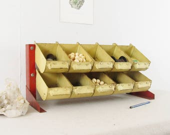 desk organizer,craft organizer,industrial metal bins,parts cabinet,cubbies,workbench organizer,decorative storage,parts drawers circa 1940