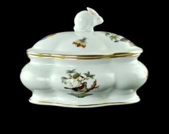 "Vintage Herend ""Rothschild Bird"" Gilded Porcelain Lidded Bon Bon Dish with Bunny Finial"