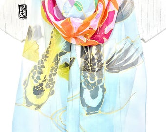 Silk Scarf Handpainted, Koi Painting, Yellow and Black Koi Scarf with Summer Pink Clematis, Chiffon Scarf, Takuyo, 11x90 inches