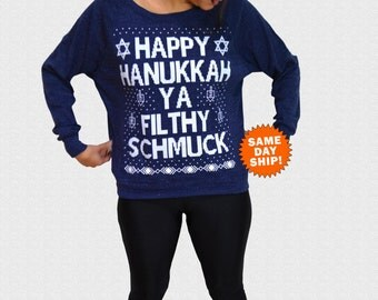 Hanukkah Sweater Happy Hanukkah Ya Filthy Schmuck Womens Triblend Sweater Ugly Hanukkah Sweater