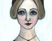 Anais Nin Art Print, Literary Portrait, Feminist Art, Gifts for book lovers, Writers Illustration (6x8) Library Decor