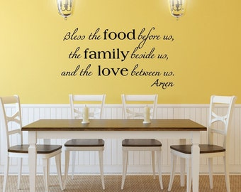 Blessing Wall Decal, Christian Wall Decal, Christian Home Decor, Bless the Food Decal,  Family Love Decal, Blessings Vinyl Wall Decal, 22195