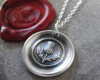 Thistle Wax Seal Necklace - Scottish heritage emblem Scotland heraldry symbol wax seal jewelry by RQP Studio