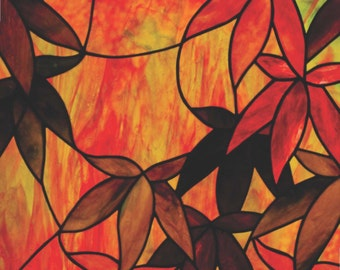 Autumn Maple Stained Glass Pattern. © David Kennedy Designs.