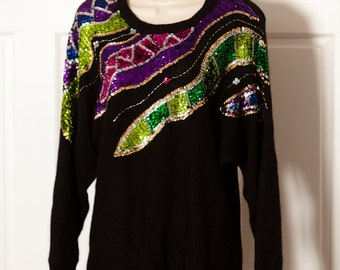 Vintage 80s 90s Womens Sweater - Shiny Colorful Sequins - Marnie WEST - M