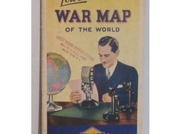 Lowell Thomas's War Map of the World, Vintage Sunoco NBC 1940's Event History Historical Memorabilia
