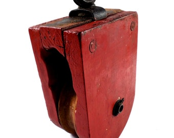 Antique Wood Block Pulley with original red paint, old Barn Pulley, industrial pulley