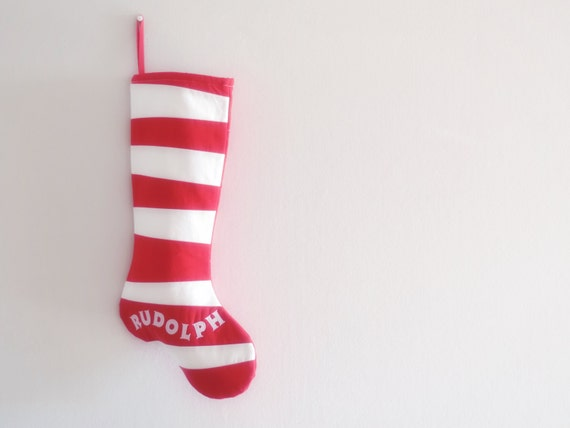 Personalized Christmas Stocking Personalized Stocking, Kids Family Stockings, Red White Modern Striped Boy Girl Holiday Decoration, Dr Seuss