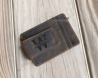 Fathers day gift, Mens Leather Money clip Wallet, Mens Personalized, Gifts for Dad, Husband gift, Anniversary gift, Leather Money Clip